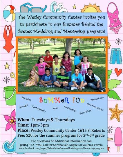 Summer Behind the Scenes Modeling and Mentoring  @ Wesley Community Center | Amarillo | Texas | United States