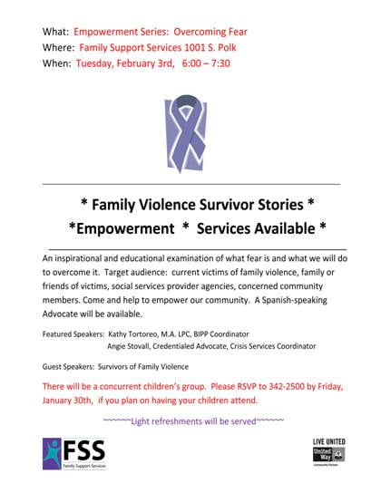 Empowerment Series: Overcoming Fear @ Family Support Services | Amarillo | Texas | United States