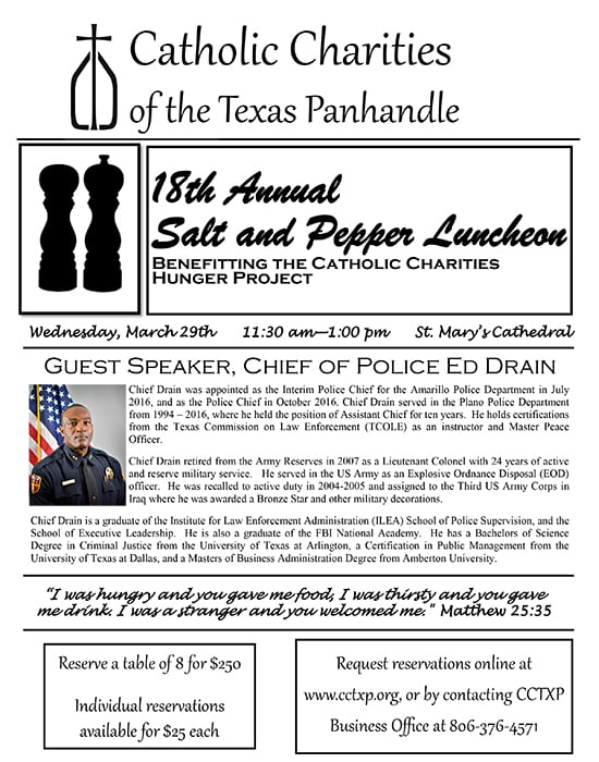 Catholic Charities Hunger Project: 18th Annual Salt & Pepper Luncheon @ Catholic Charities Hunger Project: 18th Annual Salt & Pepper Luncheon | Amarillo | Texas | United States